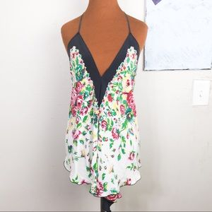 Pins & Needles silk halter top, floral